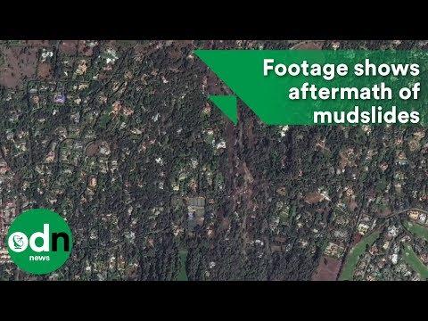 Dramatic satellite footage shows aftermath of mudslides