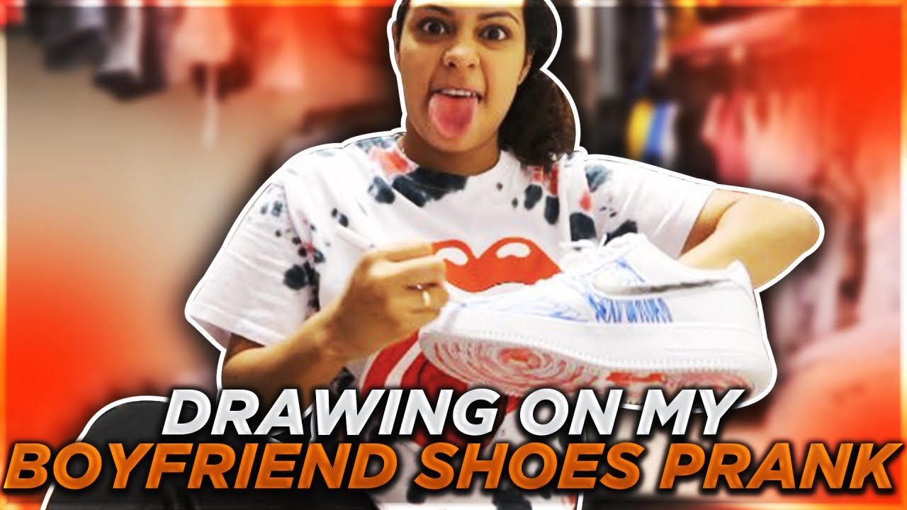 DRAWING ON MY BOYFRIEND SHOES PRANK!! (Payback)