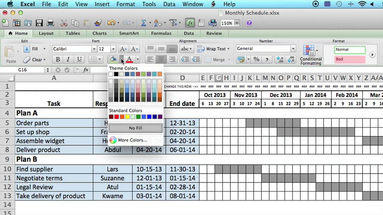 How to Use a Monthly Schedule in Microsoft Excel : Using ...