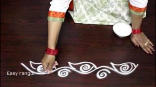 creative and easy  rangoli side designs || simple kolam side designs || easy muggulu side designs
