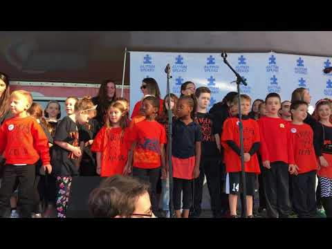 Marple Newtown Tigers sing the National Anthem at the Autism Speaks Walk
