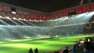 Annuncio delle formazioni prima del derby d'italia tra juve e inter