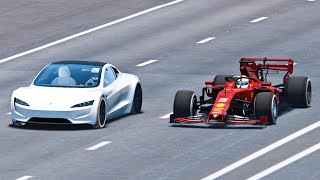 Ferrari F1 2019 vs Tesla Roadster - Drag Race