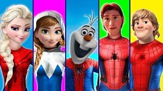 finger family song spiderman frozen nursery rhyme elsa anna olaf kistoff hans childrensongs guera
