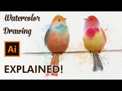 Adobe Illustrator Drawing Tutorial - How To Draw Birds With Vector Watercolor Brushes