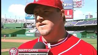 Debbi Taylor talks with player of the game Matt Capps about his close in the Nats win