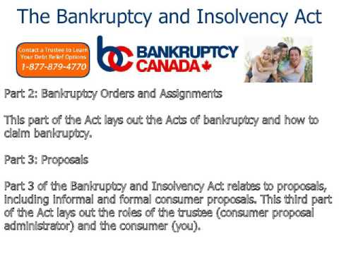 The Bankruptcy and Insolvency Act