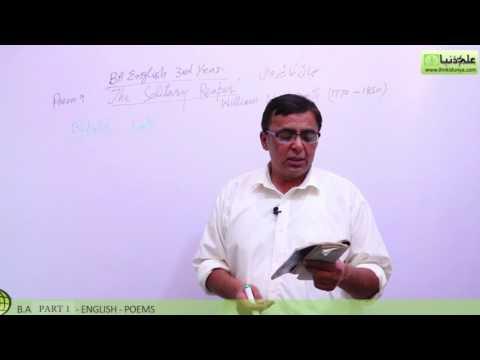 BA poem The Solitary Reaper Lecture 1 BA Part 1 - BA English Book 1 Poem Punjab University