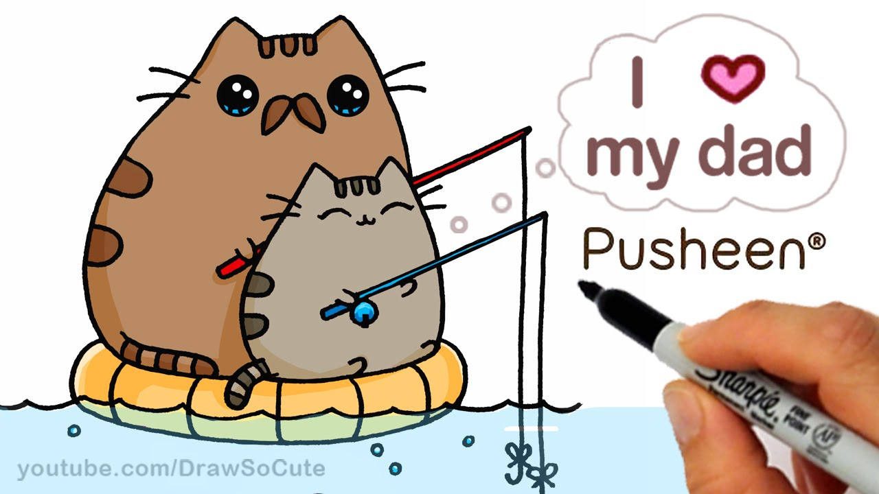 How to Draw Pusheen Cat step by step Cute Father 39 s Day
