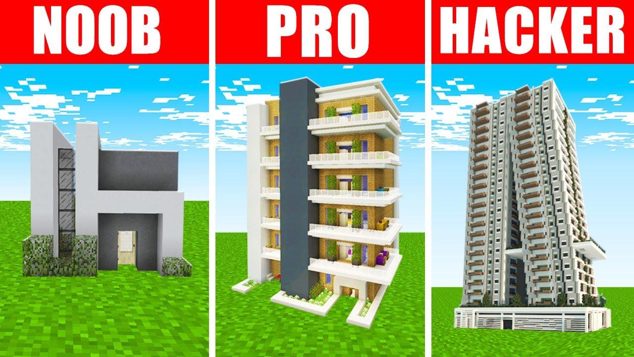 Minecraft NOOB vs. PRO vs. HACKER : LUXURY APARTMENT BUILD CHALLENGE in Minecraft!