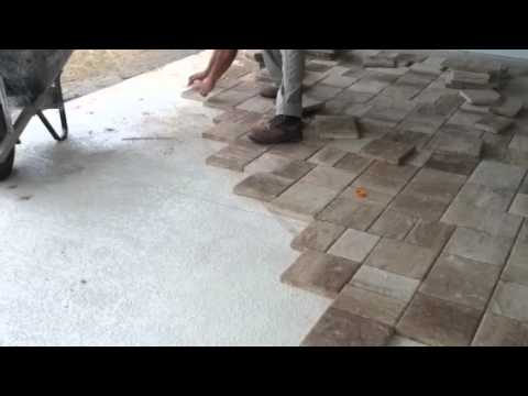 Laying Thin Pavers Over Concrete - YouTube