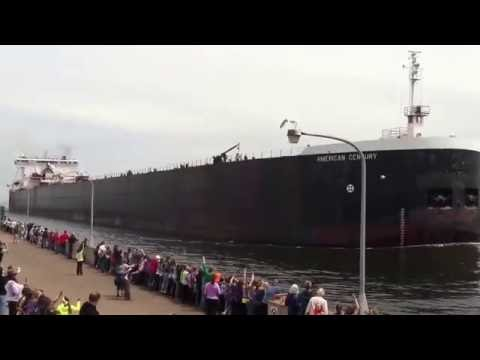 The American Century going under the Duluth Lift Bridge
