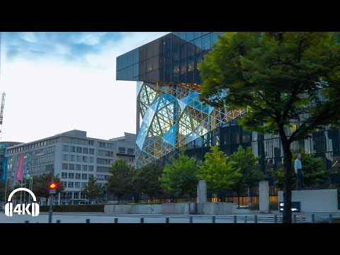 Berlin Cycling, New Modern Architecture & Old beautiful Building, Relaxed riverside [4K] Summer 2020