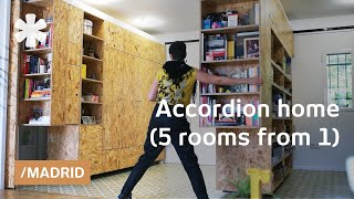 Madrid accordion home: transforming walls get 5 rooms from 1