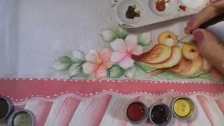 Pintura em Tecido – Aprenda Pintar Passarinho, Florzinhas, Folhas e Fundo