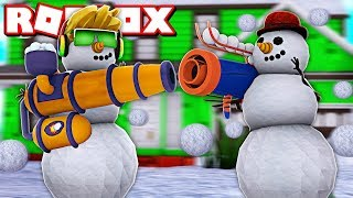 I AM A SNOWMAN AND WE HAVING A SNOWBALL FIGHT WITH MY DAD in ROBLOX!!!