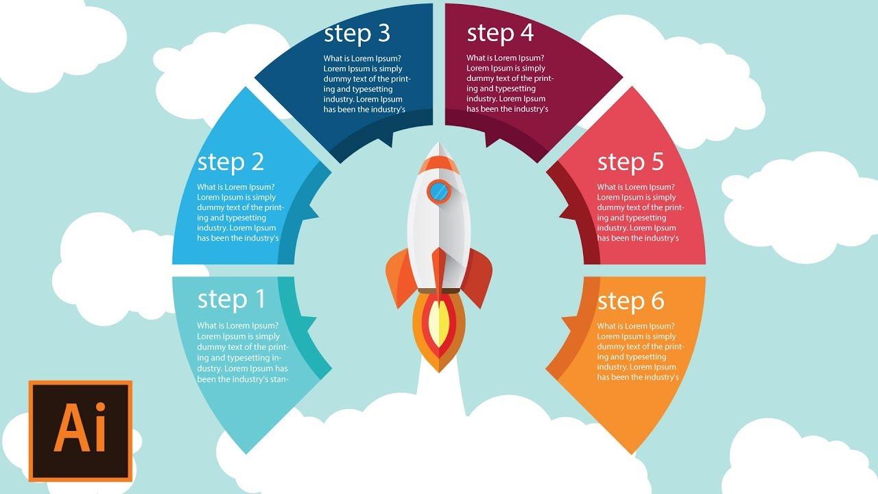 Illustrator tutorial | Rocket Launch - Round Infographic ...