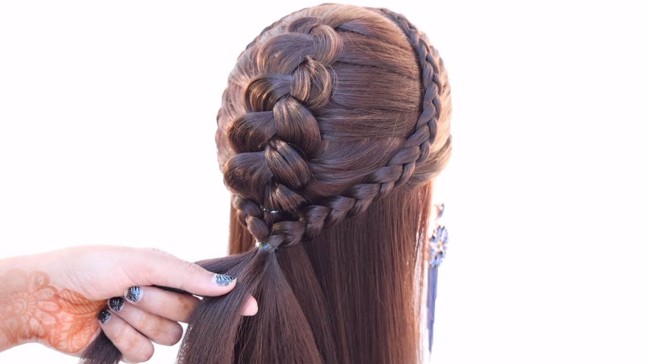 3 amazing hairstyle for party | front hairstyle | hair style girl | cute hairstyle | braid hairstyle