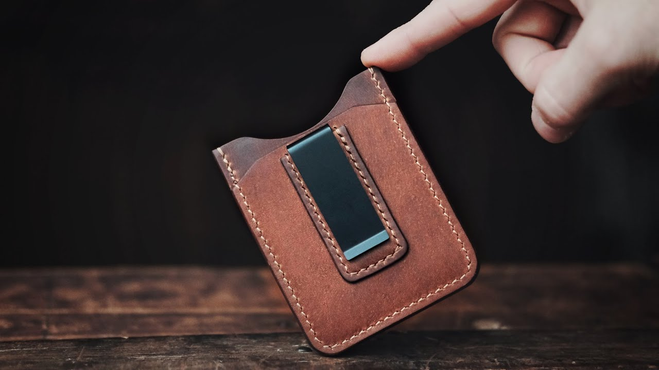 Making A Handmade Money Clip Leather Wallet Asmr Edition
