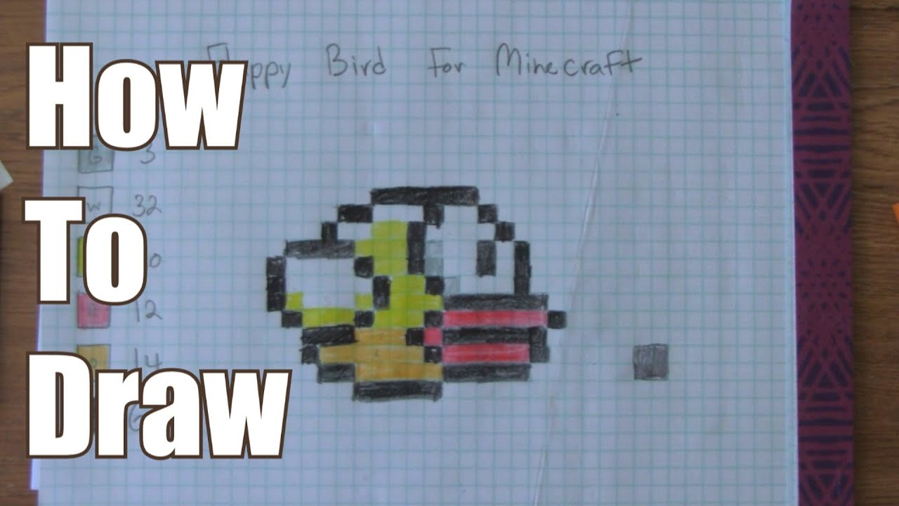 how to draw flappy bird on graph paper
