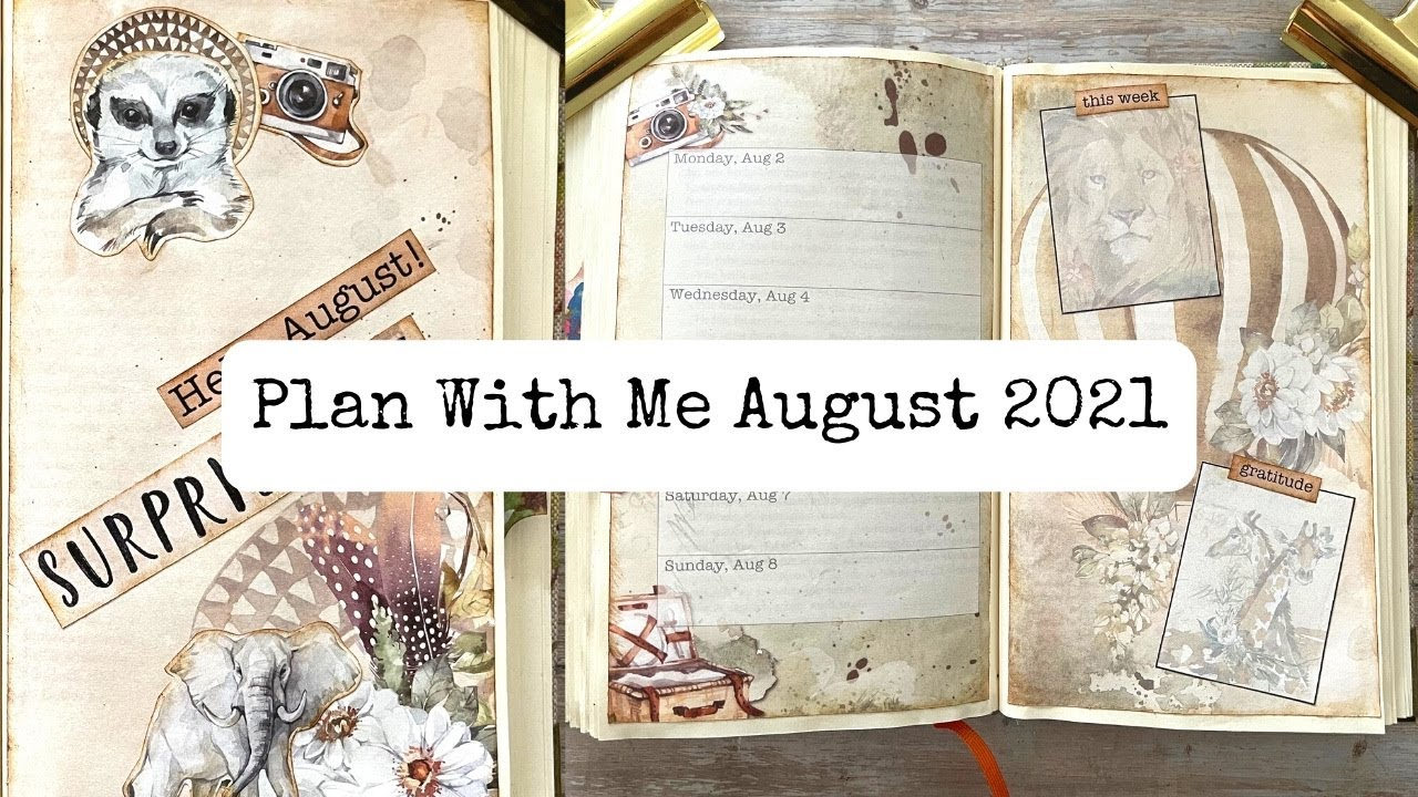 Plan with me August 2021/Bullet Junk Journal/Altered Book Planner/New Digital Kit incl. Freebies!