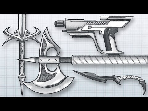 How to DESIGN AWESOME WEAPONS! Draw your own guns, swords, axes, knives and more!