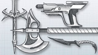 How to DESIGN AWESOME WEAPONS! Draw your own guns, swords, axes, knives and more!(Download the reference files: http://www.newgrounds.com/dump/item/9b88eabff06103ae929e993c0c1b2bcd Get my eBooks, Brushes, References and more: ..., 2016-02-15T04:56:37.000Z)