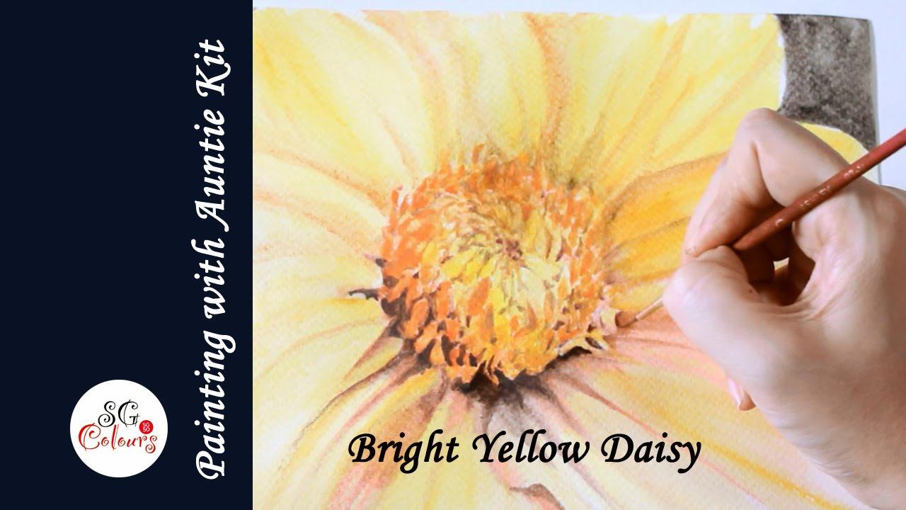 Bright Yellow Daisy Watercolour Effect With Derwent Inktense Blocks Youtube