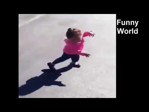 Funny Baby Girl Scared from her Shadow