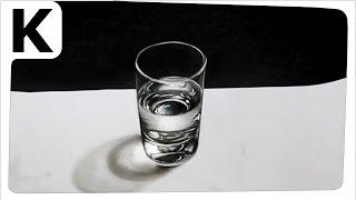 How to draw 3D- Optical illusion- glass of water - Rysunek 3D- Iluzja optyczna- szklanka wody