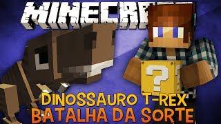 Batalha da Sorte -  Dinossauro T-Rex Desafio do Lucky Block Minecraft