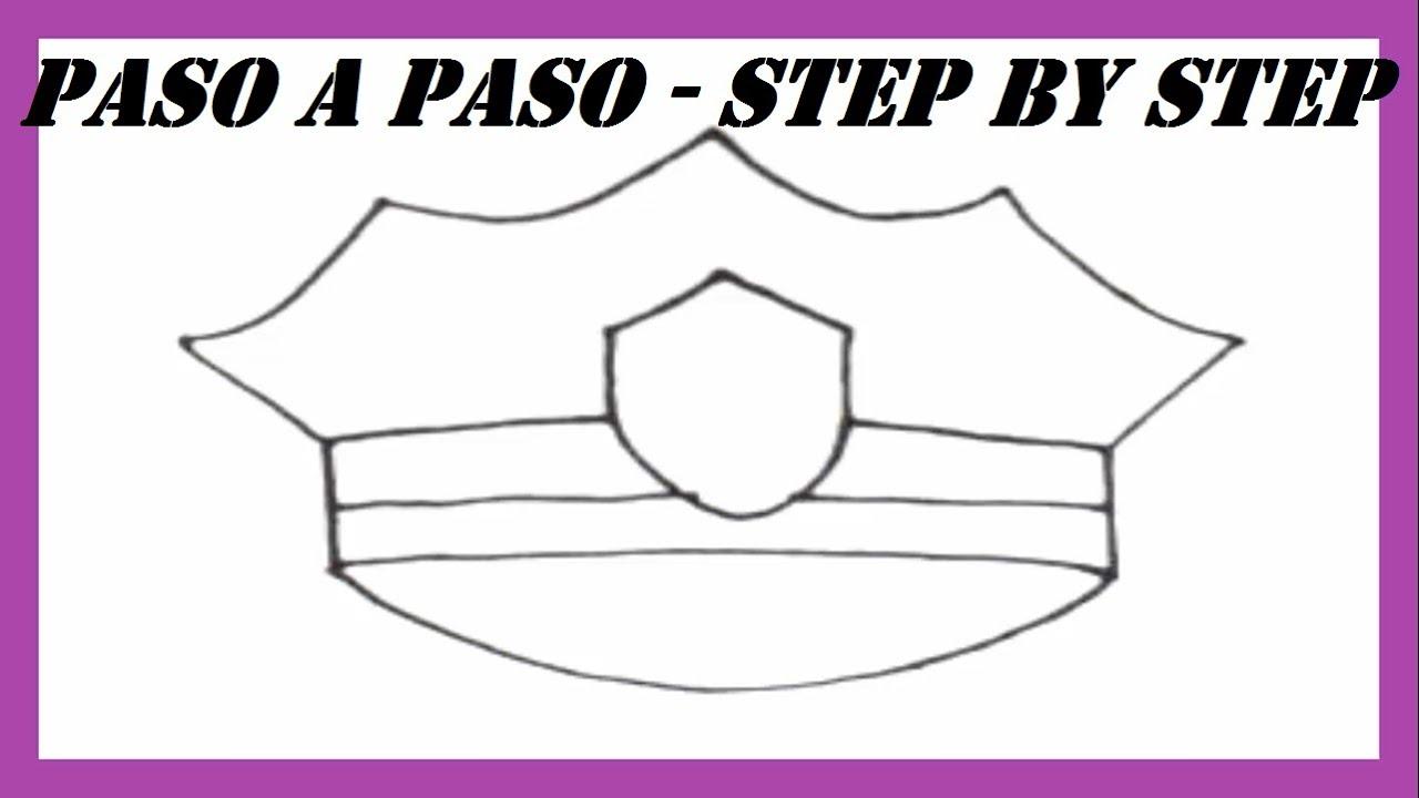 Como dibujar una Gorra de Policía l How to draw a Police Cap l Paso ...