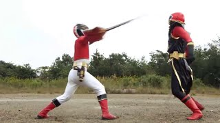 Batalla contra Gedoshu ShinkenRed Gosei Red vs Shinken Red Sentai Goseiger vs Shinkenger