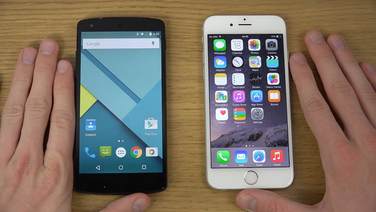 nexus 5 android 5 0 lollipop vs iphone 6 ios 8 review 4k youtube