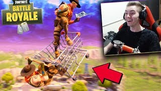 FORTNITE-The BUG of SHOPPING CART!! THE SUPER LEAP