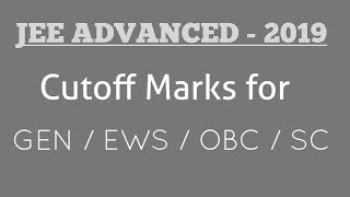 Jee advanced 2019 CUTOFF marks | jee advanced 2019 result declared ,Topper, Marks vs ranks