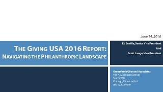 The Giving USA 2016 Report: Navigating the Philanthropic Landscape
