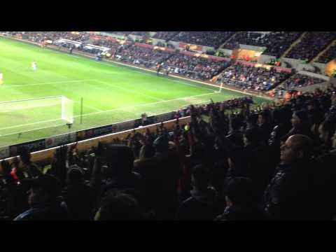 Napoli hooligans at Liberty stadium Swansea ( They supported their team for 95min )