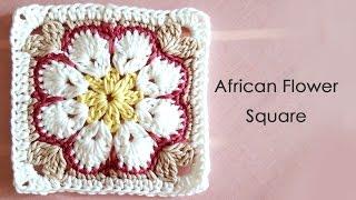 アフリカンフラワーモチーフの編み方(四角形) * African Flower Square Crochet Motif *