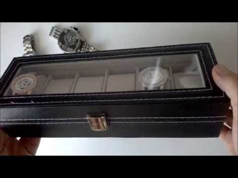 6 Grid Watch Display Slot Box Jewelry Storage Organizer