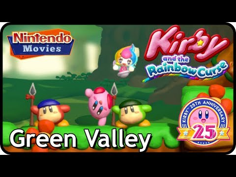Kirby and the Rainbow Curse/Paintbrush - Level 1 - Green Valley (100% Multiplayer Walkthrough)