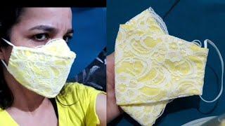 Nova Máscara 3D Rendada Muito Boa e Linda Costurada à Mão
