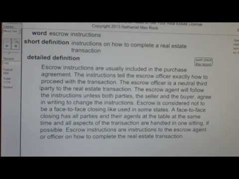 escrow instructions CA Real Estate License Exam Top Pass Words VocabUBee.com