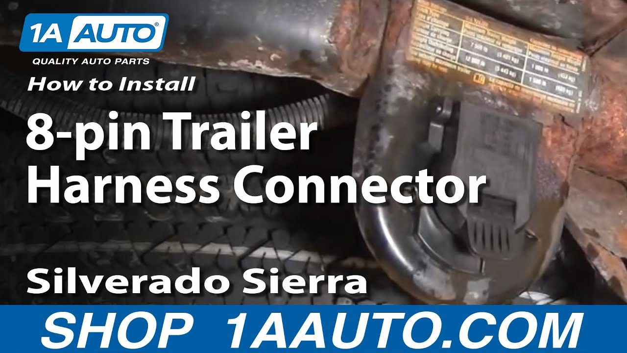 How To Install Replace 8-pin Trailer Harness Connector Silverado Sierra 1999-06 - 1AAuto.com - YouTube : wiring-diagram-on-trailer-plug - Color Castles