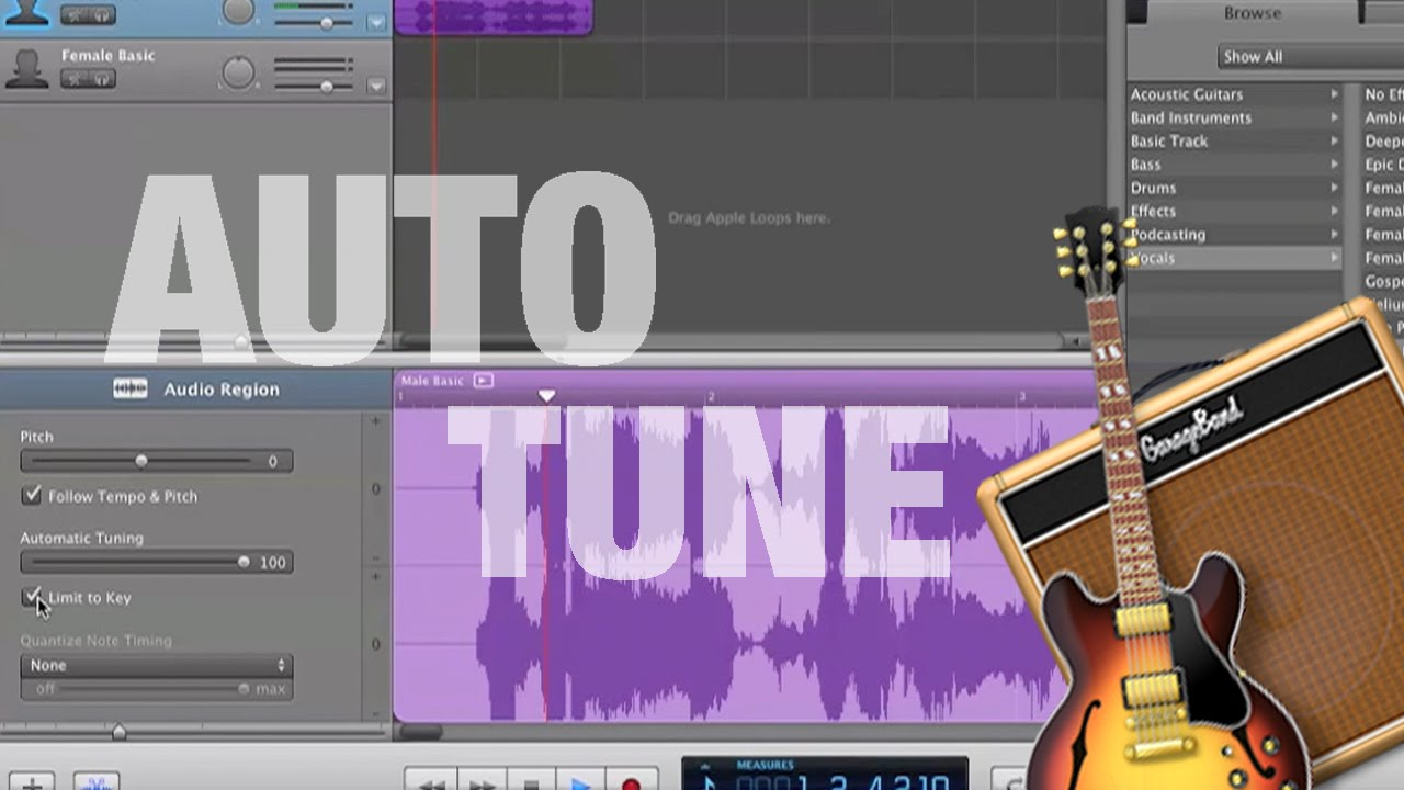 how to auto tune your voice in garageband youtube