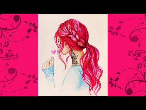 Рисуем разноцветные волосы ✎ КРАСИВЫЙ ПОРТРЕТ ДЕВУШКИ С ТАТУ ✎ Как Научиться Рисовать Самому?