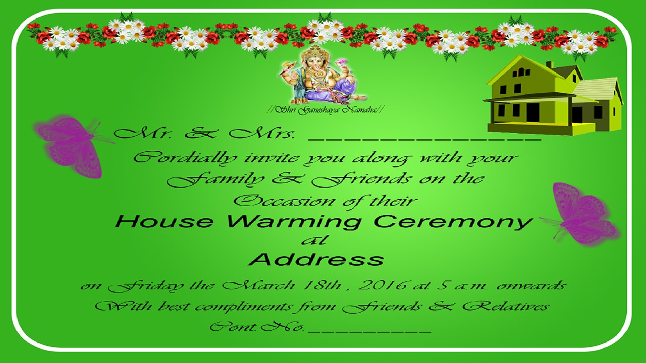 How To Design A House Warming Invitation Card In Photo Tamil With Esubs You