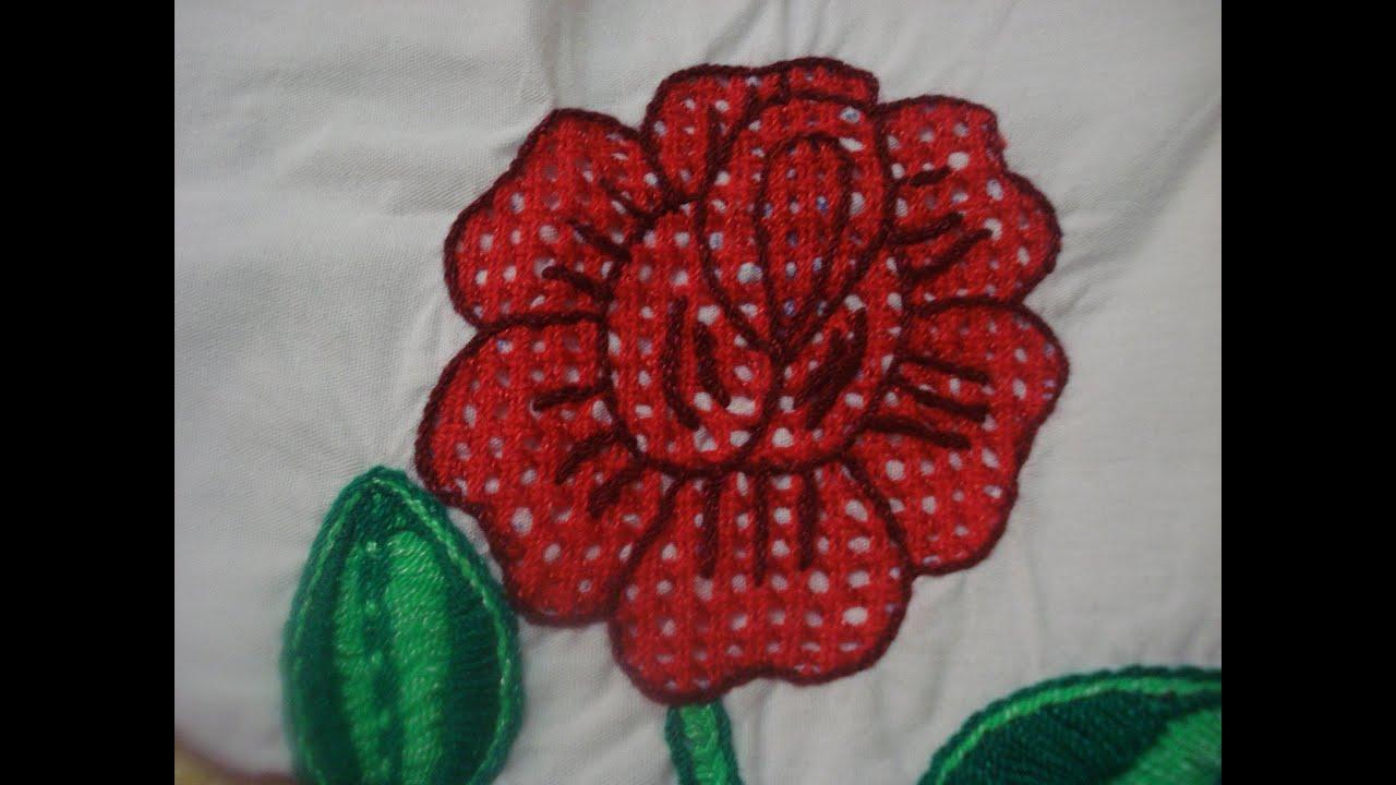 Bordado Fantasia Rosa roja - YouTube