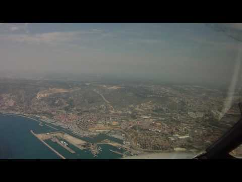 Pilot's eye view landing in Marseille with 45 kt wind gusts.