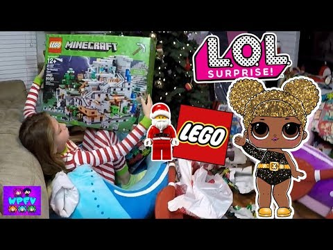 LOL GLITTER SERIES QUEEN BEE SURPRISE GOLD DOLL FOUND ON CHRISTMAS DAY REACTION! + GIANT LEGOS